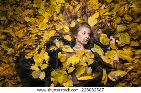 Nice girl covered with autumnal leaves. Young woman laying down on the ground covered by fall foliage in park. Beautiful sexy girl lying on autumn leaves. Young woman covered with golden autumn leaves - stock photo