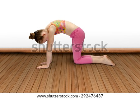 nice girl practices yoga - stock photo