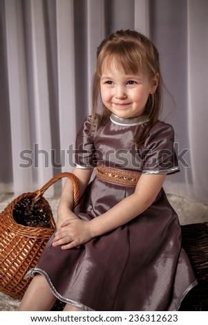 nice girl with a basket  - stock photo