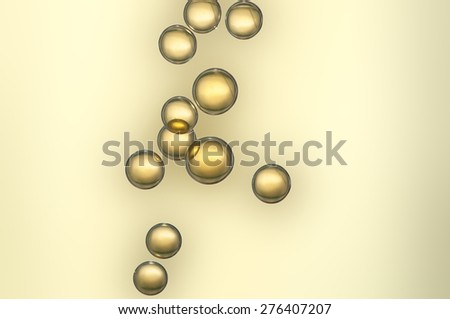 Nice golden champagne bubbles flowing in a crystal glass - stock photo