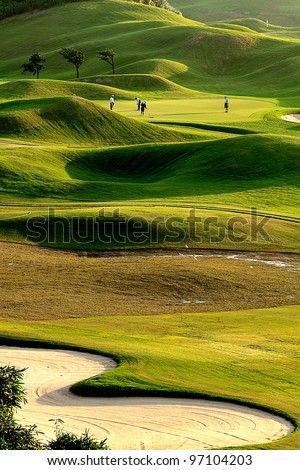 Nice golf place with nice green - stock photo