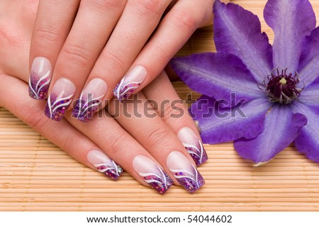 Nice hands with nail art - stock photo