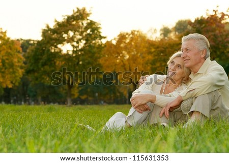 nice happy couple sitting at autumn park - stock photo