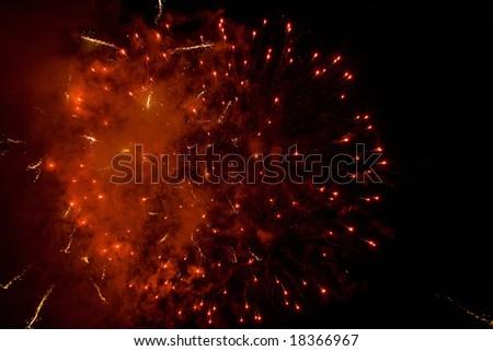 Nice huge fireworks ball. - stock photo
