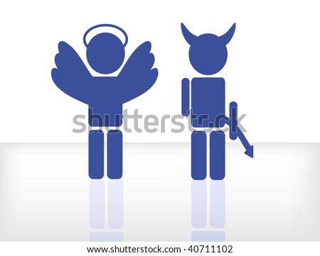 nice illustration of an angel and and devil isolated on white background - stock photo