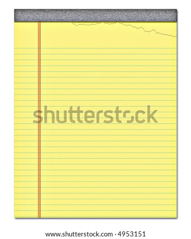 nice image of a yellow notepad with a page torn off - stock photo