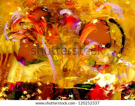 Nice Image of an Original Acrylic on Glass - stock photo