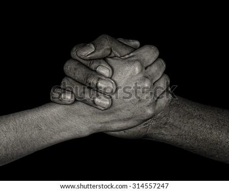 Nice image of the international symbol of friends and handshake - stock photo