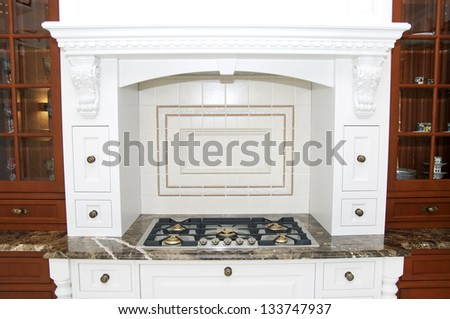 nice interior with furniture and kitchen appliances - stock photo