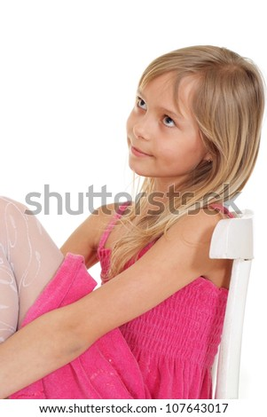 Nice little blonde showed herself in the photos in all her glory - stock photo
