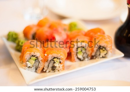 nice looking and tasty food on wedding reception - stock photo