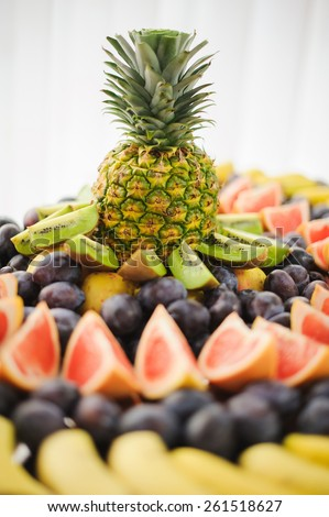nice looking and tasty food pineapple on wedding reception - stock photo
