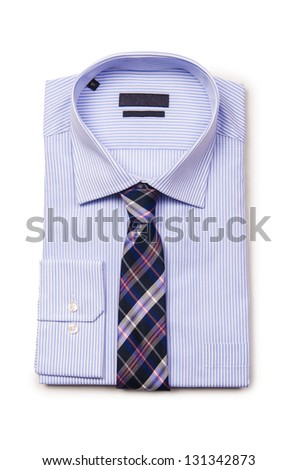 Nice male shirt isolated on the white - stock photo