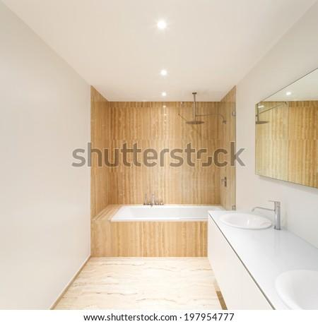 nice modern bathroom, bathtub view - stock photo