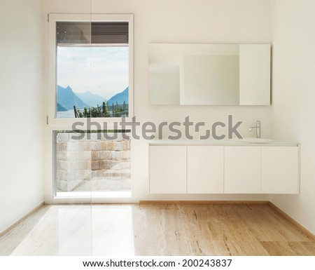 nice modern bathroom, marble  floor - stock photo