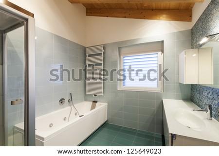 nice modern loft,  bathroom view - stock photo
