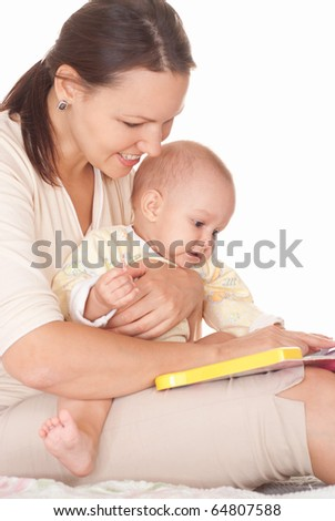 nice mom and baby on a white background - stock photo