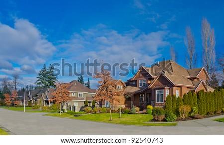 Nice neighborhood. Homes in the suburbs of the North America. Canada. - stock photo
