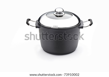 nice new pots new kitchen wear with chrome lid on the pot - stock photo