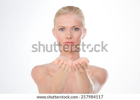 nice nordic girl asking for something - stock photo