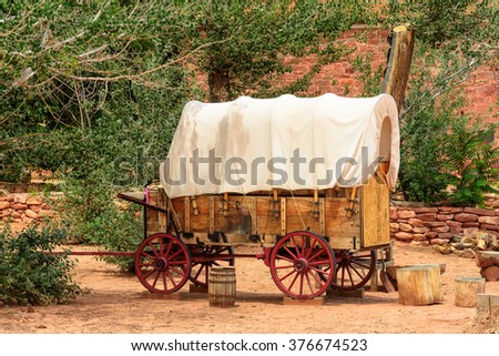 Nice old covered wagon in the old West, Arizona - stock photo