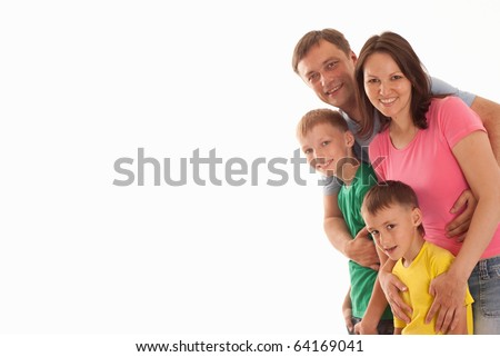 nice parents with their two children together on a white - stock photo
