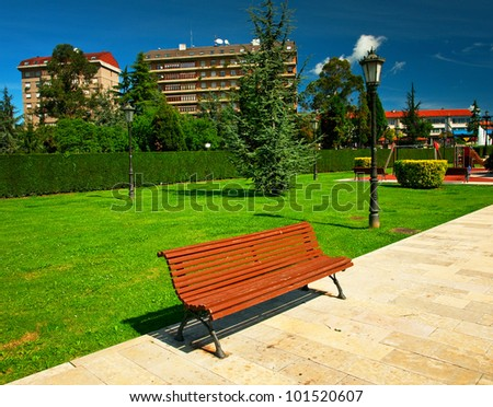 Nice park in the city - stock photo