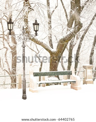 Nice park in winter with snowfall - stock photo