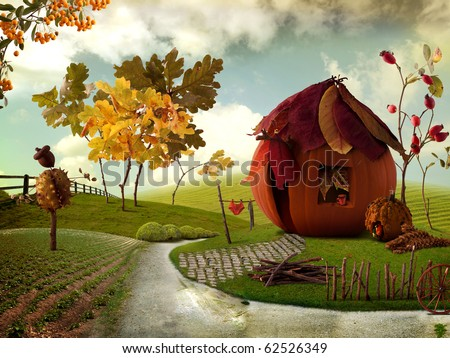 Nice picture-collage with a pretty Pumkin-Cottage and Chestnut-Acorn Scarecrow - stock photo