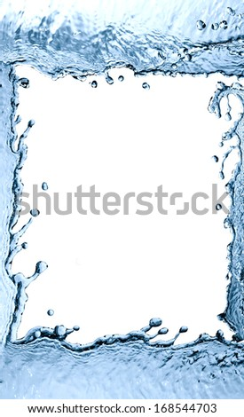 Nice picture frame made from abstract splashing water - stock photo