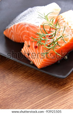 Nice pieces of raw salmon - stock photo