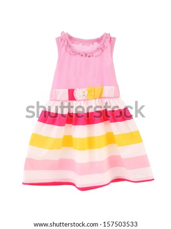 Nice pink dress for girls. Isolated on a white background. - stock photo