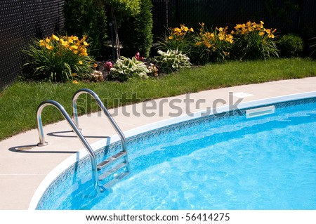Nice pool with bright flowers in the background - stock photo