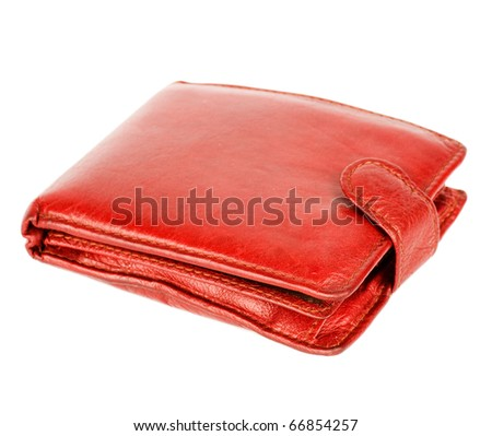 Nice red womans wallet isolated on white - stock photo