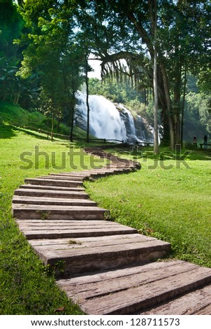 Nice S-shape walkway to Vachiratharn Waterfall Doi Inthanon National Park - Chiang Mai ,Thailand - stock photo
