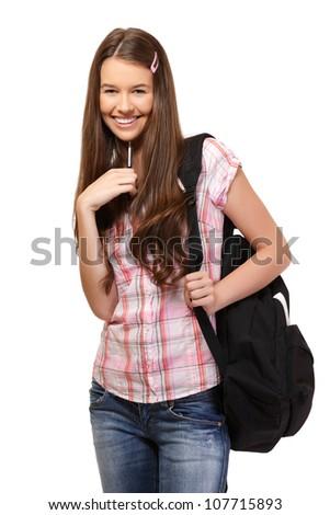 nice schoolgirl smiling in studio - stock photo
