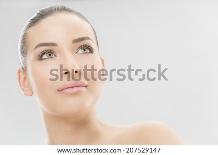 Nice, sensual woman face - stock photo