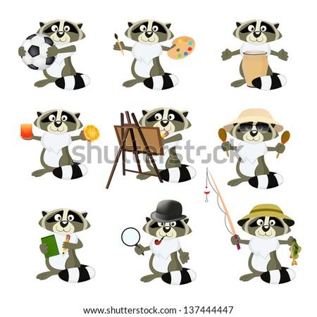 Nice set of cartoon raccoons - stock photo