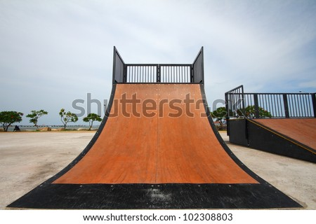 nice skate and other sports park on puplic park - stock photo