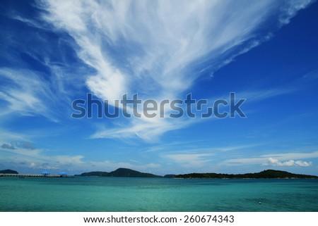 nice sky and blue sea - stock photo