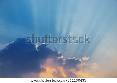 nice sky sunset with sun rays. - stock photo