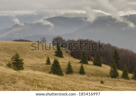 Nice Slovak mountains, which is called Velka Fatra. - stock photo