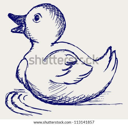Nice small duckling. Raster - stock photo