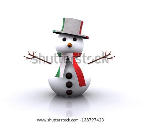 Nice Snowman Italian - stock photo