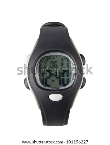 Nice sport wristwatch with big number and digital display isolated - stock photo