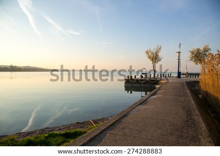 Nice sunrise at lake Balaton, Hungary - stock photo