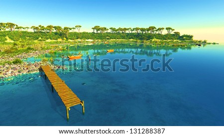Nice sunset over water and land - stock photo