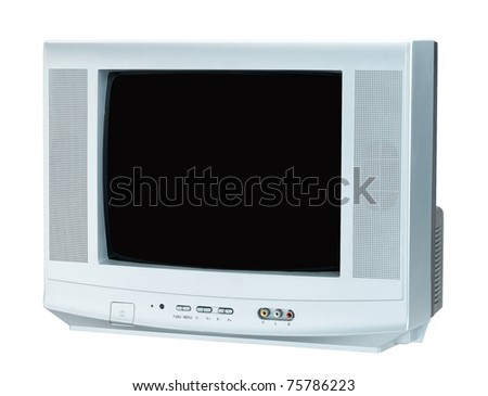 Nice television the entertainment tool at home isolated on white - stock photo