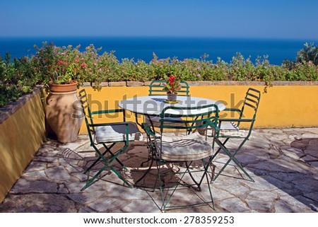 Nice terrace with the view on Ionian sea, Corfu, Greece - stock photo