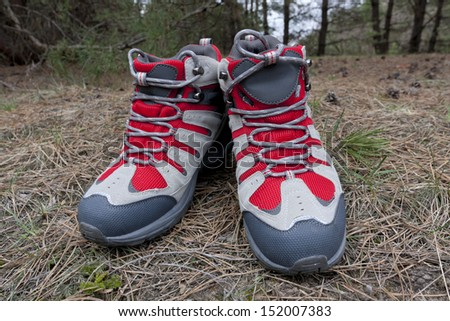 Nice tourist boot in forest - stock photo